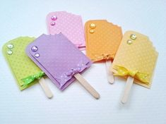 Popsicle embellishments for scrapbooking card making and summer fun. Grape,lemon lime, orange, lemonade and strawberry. Handmade paper piecing scrapbook embellishments from dalayney. chucklesandcharms on etsy. Candy Cards, Paper Candy, Scrapbook Embellishments, Planner, Scrapbook Cards, Scrapbook Layouts, Paper Piecing, Gift Tags, Card Tags
