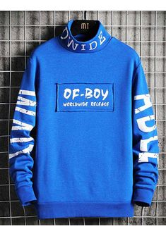 Men's blue OF BOY text print high neck sweatshirt 01 Sweatshirts Online, Mens Sweatshirts, Shirt Print Design, Shirt Designs, Neon Nike Shoes, Streetwear Jackets, Stylish Hoodies, Boys Shirts, Shirt Style