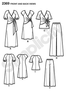2369Misses' Dress & Separates  Misses' knit dress in two lengths or tunic and pants sewing pattern.  $10.15