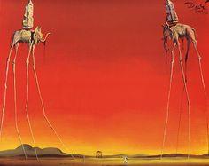 Salvador Dali. Elefantes. Un par de elefantes con alteraciones en las patas, haciendo de esta obra una surrealista, y en el fondo un amanecer.
