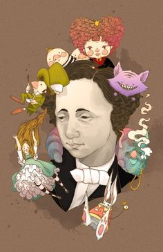 """""""Lewis Carroll""""  Ink and Digital Color"""