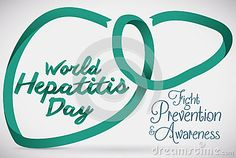World Hepatitis Day commemorative design with a liver shape with a jade ribbon.