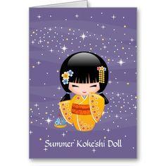 Summer Kokeshi Doll Personalized Greeting Card #cute #kawaii #kokeshi