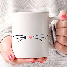Taza Gato Miau Meow Cat Bigote Nariz Rosa Blanco Negro - Moderno, Estilo, Minimal, Minimalista, Estilo, Diseño, Taza Café, Taza Té, Handmade by MyNameIsMir on Etsy