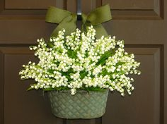 spring wreath Mother's day gift summer wreaths lily of the valley wreaths burlap bow, front door wreath, decorations, flowers in vase