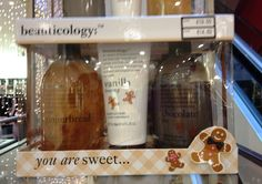 Gingerbread wash, Vanilla frosting body lotion and chocolate chip shower creme...sounds too good enough to eat!