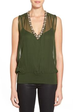 Bailey 44 'Hear the Beat' Sheer Embellished Silk Top available at #Nordstrom