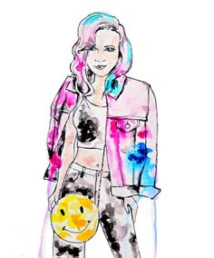 Illustrated: Nasty Gal Crop top and happy face bag : ) #nastygal #jeanjacket #smileyface #fashionillustration #art