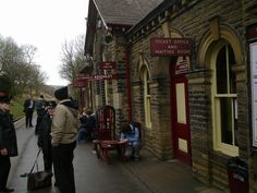 On the platform at Haworth steam railway. Days Out In Yorkshire, West Yorkshire, Steam Railway, Steam Locomotive, Places Ive Been, Street View, Platform, Country, Holiday