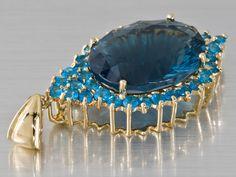 Blue Fluorite 10.46ct Oval Quantum Cut® & Neon Apatite 10k Gold Pendant - Jewelry Television - www.jtv.com