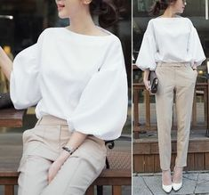 An amazing casual outfit with white puff sleeve blouse combined with beige chinos to perfect your style Look Fashion, Hijab Fashion, Korean Fashion, Fashion Dresses, Womens Fashion, Fashion Design, Fashion Trends, Fall Fashion, Fashion Check