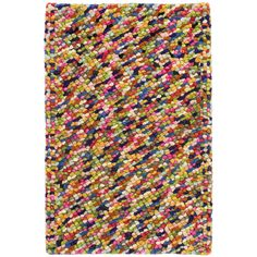 Test drive this rug in your space.Order a swatch by adding it to your cart.Youll want to sink your toes into this high-profile wool woven rug! Made up of large yarns that are looped into a fun, mottled design, its cheery colors and ultracushy feel make it ideal for bedrooms, playrooms, and family spaces.