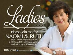 WATCH Diana and Kendal Hagee online at getv.org 8:00PM CT for the Naomi and Ruth Women's Discipleship Class! #naomiandruth