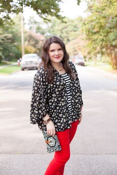 Red jeans from Stitch Fix, Daisy floral kimono from Stitch Fix, black and white striped tee (5) @stitchfix