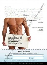 """Birthday Voucher. This template is available in A4 Poster, DL/#9 Postcard and US Letter formats. """"I find the birthday vouchers a great hit with my clients. I have been adding another voucher with the $20. It is just one of our great WSM fantastic packages at a super price, and this also has been doing really well. I have been surprised at the clients that have been taking up the offer."""" Robyn Curnow, Beauty on Ryrie, Ringwood, VIC"""