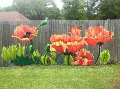 Mural for WECS play yard fence? Mural by Lori Anselmo Gomez in Pearl River, LA Garden Mural, Garden Fencing, Backyard Fences, Outdoor Projects, Garden Projects, Garden Ideas, Garden Tools, Easy Garden, Art Projects