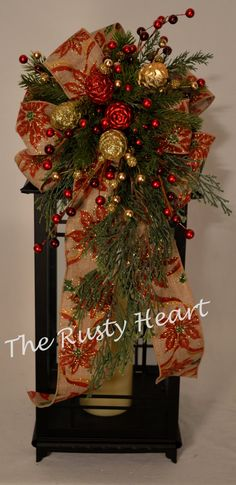 Christmas Lantern Swag with Poinsettia Burlap by TheRustyHeart