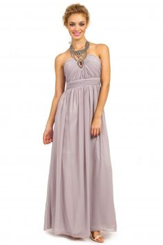 229167ac25c Little Mistress Smoke Grey Heavily Embellished Halterneck Chiffon Maxi Dress  Website  gt  http