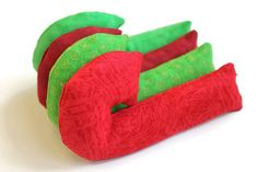 Red & Green Candy Cane Shaped Bean Bags (set of 4) Lime Rice-filled Bean Bags Crimson Christmas Ornament Gift - US Shipping Included - pinned by pin4etsy.com