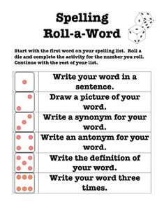 Spelling - Roll a Word - Word Work Center Activity
