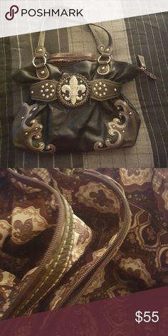 (SALE ) Fleur de lis Purse Huge rhinestone fleur-de-lis belt wrap around Bags Shoulder Bags