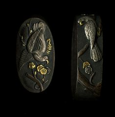 Description A nice set of fuchi kashira with design of a bird in a blossoming plum tree on a shakudo nanako background. Design is well done with nice use of gold and silver as highlights. A nice set that would look good mounted.