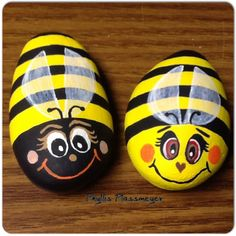 Bumblebees - Painted rocks by Phyllis Plassmeyer  -- 2015