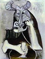 Pablo Picasso. Horned head to glass, 1958