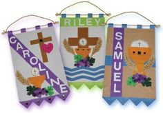 First Holy Communion Banner Kit- for Girls and Boys- Unlimited Options! First Communion Banner, Boys First Communion, First Communion Dresses, Communion Banners, Communion Centerpieces, Communion Decorations, Communion Invitations, Communion Favors, Catholic Crafts