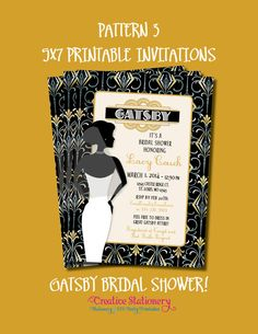 Printable inch Invitations customized just for you. Four pattern options. Printable Invitations, Party Printables, As You Like, Just For You, Great Gatsby Party, Stationery Store, Diy Party, Party Ideas, Bridal Shower Invitations