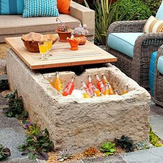 Coffee table/cooler combo. Love this!