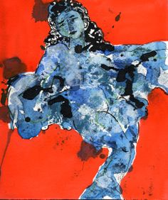 Small Blue Dancer by Joan Gillman Smith. Acrylic, watercolor, ink, 8x6.5inches.
