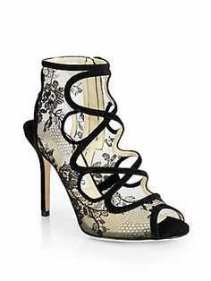 Jimmy Choo Jalislo Lace & Suede Sandals