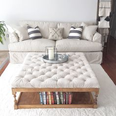 Furniture, Rack Bookshelf Storage Built In Under DIY Tufted Ottoman Coffe Table With White Fabric Cover On Rugs In Living Room Ideas ~ DIY Tufted Ottoman