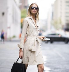 Romee Strijd looks angelic while rocking beige shirtdress on Manhattan stroll Khaki Shirt Dress, Fashion Models, Fashion Outfits, Blonde Hair Looks, Model Look, Printed Skirts, Spring Fashion, Celebrity Style, Style Inspiration