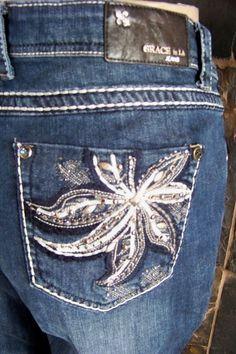 NWT Grace in La Western cowgirl Embellished Bling jeans size 19 #GraceInLA #BootCut