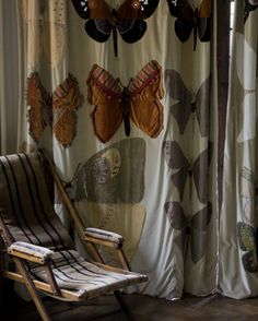 Butterfly curtains in dining room at Voewood, Norfolk, UK.  Artists Annabel Grey and Kirsten Hecktermann.