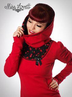 JOSEPHINE_11 Rot/Schwarz KIRSCHEN Hoodie XS-L von MISS LOVETT® - Mit Liebe handgefertigt seit 2011 auf DaWanda.com