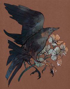 busy destroying cities — crow commission for eri! Crow Art, Raven Art, Bird Art, 16 Tattoo, City Tattoo, Crow Tattoo Design, Posca Art, Illustration Art, Illustrations