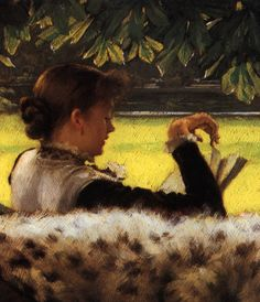 "femalebeautyinart: ""Detail of Reading a Story by James Tissot, 1878-79 """
