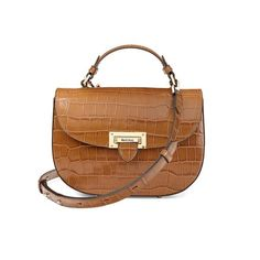 Letterbox Saddle Bag in Vintage Tan Croc from Aspinal of London
