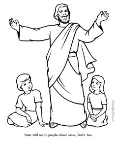 coloring page of peter telling others about the wonder of jesus - Coloring Pages Jesus