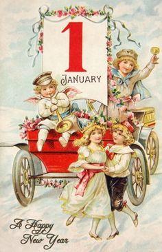 Printable Victorian Happy New Year Postcard - High Res Vintage Image Vintage Greeting Cards, Vintage Christmas Cards, Vintage Holiday, Christmas Pictures, Vintage Postcards, Vintage Images, Vintage Happy New Year, Happy New Year Cards, New Year Greetings