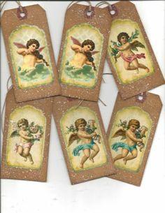 12 Primitive Tags Christmas Primitive Christmas Angels | eBay