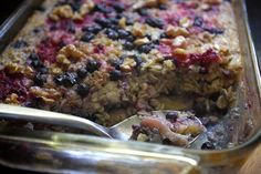 Berry Studded Banana Baked Oatmeal--YUMMO! (I'm going to modify to soak oats overnight though.)