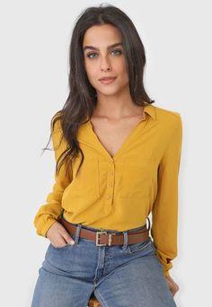 Camisa Hering Bolsos Amarela - Compre Agora | Dafiti Brasil Skinny, Ideias Fashion, Ruffle Blouse, Long Sleeve, Sleeves, 1, Women, Products, Jeans Pants