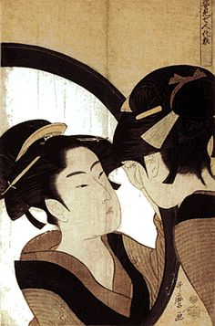 Sugatami Shichinin Kesho (Seven Women Applying Make-up in the Mirror)  The perspective in which you see the woman's face through the mirror shows the richness of Utamaro's creativity.-Kitagawa Utamaro (1753-1806)
