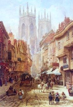 By louise Rayner This is Low Petergate in YORK. It is hardly changed today and is instantly recognisable. York Minster is in the background . Fantasy City, City Painting, Pics Art, Figurative Art, Canvas Art Prints, Landscape Paintings, Cool Art, Concept Art, Art Gallery