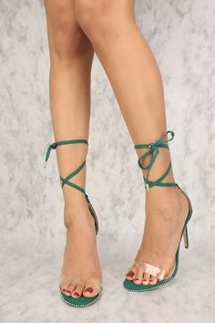 Sexy Hunter Green Studded Design Single Sole Lace Up High Heels Faux Suede Sexy High Heels, Lace Up High Heels, Frauen In High Heels, Beautiful High Heels, High Heel Pumps, Womens High Heels, Pumps Heels, Stiletto Heels, Suede Heels
