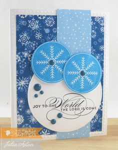Create With Me: A blue snowflake Christmas card I made using stamps from Waltzingmouse - Around Christmastime and Seasonal Flourish.